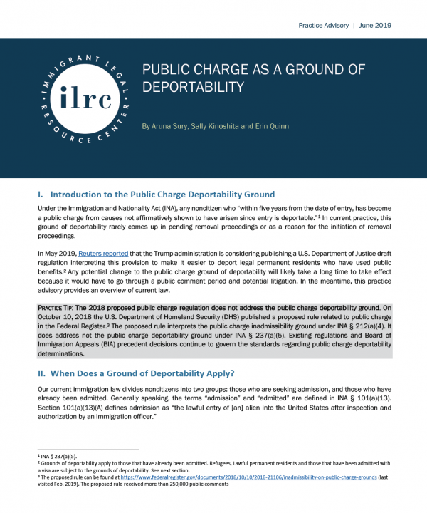 Public Charge | Immigrant Legal Resource Center | ILRC